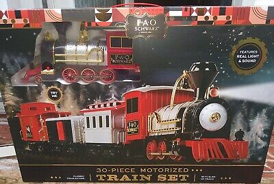 FAO Schwarz 30-Piece Motorized Train Set, Red Christmas tree decor NIB