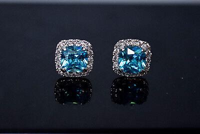 14K Solid White Gold Lab Diamond Blue Cushion Halo Stud Earrings Screw 1.5TCW