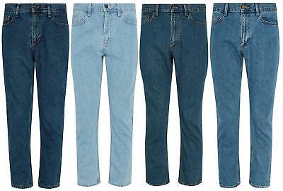 Mens Casual 100% Cotton Zip Fly Blue Pants Regular Fit Straight Leg Denim Jeans