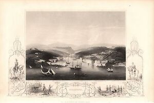 Antique-Victorian-Engraving-Crimea-War-c1860-Sebastopol-Showing-Forts-Guns