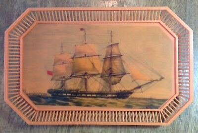 Vintage Norleans Serving Tray & 6 Coasters made in Greece! Sailing Ships!