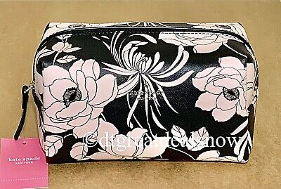 NWT Kate Spade Laurel Way Gardenia Medium Davie Cosmetic Black Floral