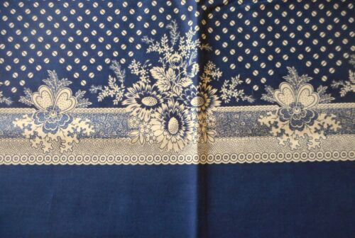 Unique Antique Vintage Floral Border Print Cotton Fabric ~ Navy