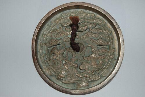 Bronze kagami mirror, cranes, turtle, pine, Japan