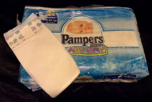 "Vintage Pampers ""Phases"" Plastic Baby Diaper for Boys Sz Junior from Europe"