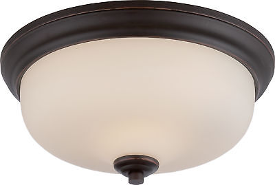 - Nuvo Kirk 2 Light Flush Fixture with Etched Opal Glass LED Omni Included