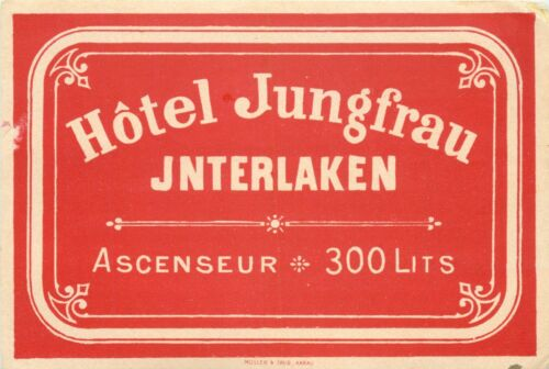 Hotel Jungfrau ~INTERLAKEN SWITZERLAND~ Seldom Seen early Luggage Label, c. 1910