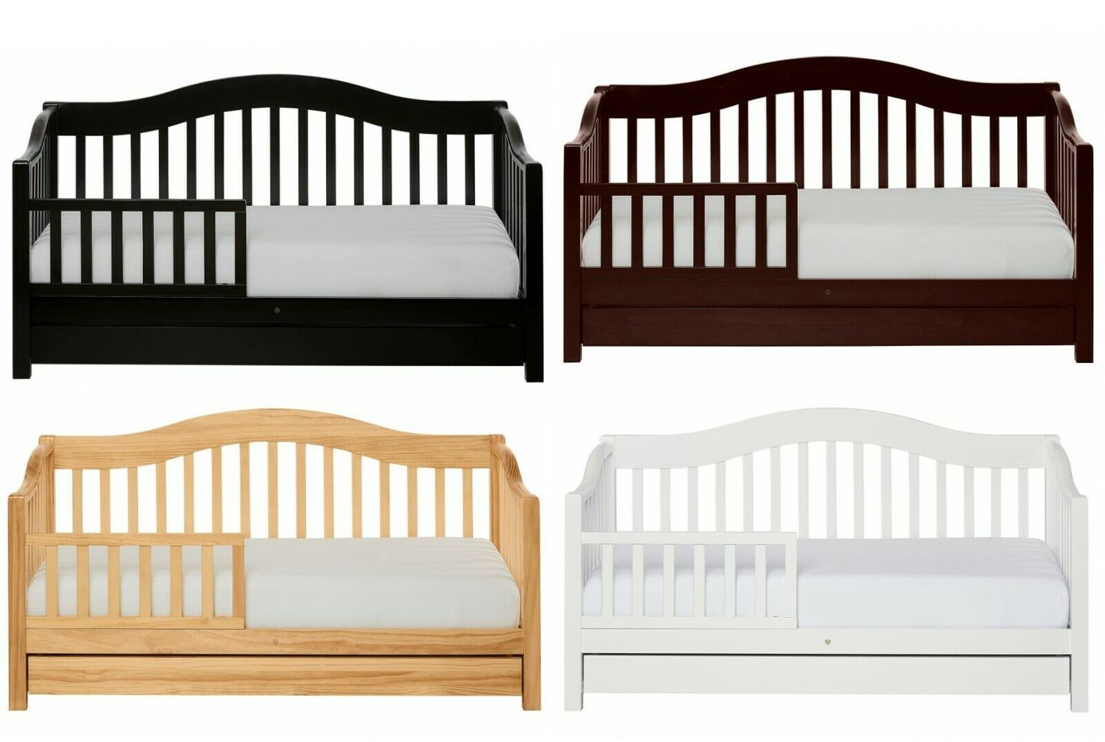 wooden toddler day bed frame with storage