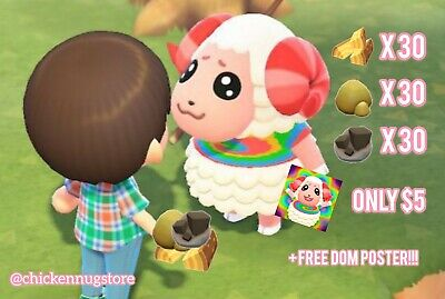 Animal Crossing New Horizons 30 WOOD 30 IRON 30 CLAY BUNDLE + FREE DOM POSTER