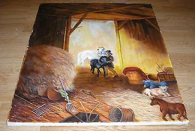 WHITE DRAFT HORSE BLACK FOAL CALF FARM ANIMALS BARN STABLE HAY RAKE OIL PAINTING
