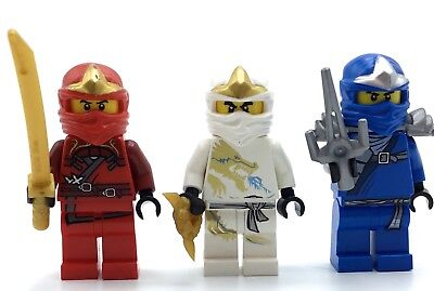 LEGO LOT OF 3 NINJAGO MINIFIGURES JAY ZANE KAI NINJA FIGS W/ WEAPONS REAL