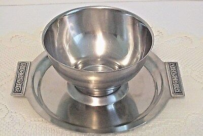 Vintage International Silver Decorator Stainless Steel Chip And Dip Bowl 8-8