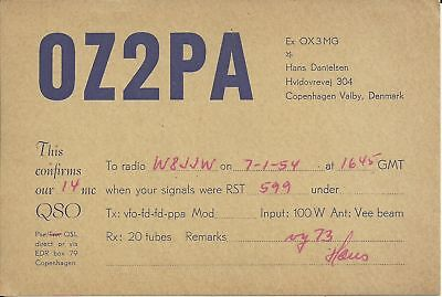 OLD VINTAGE OZ2PA COPENHAGEN VALBY DENMARK AMATEUR RADIO QSL CARD
