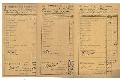 SCUOLA DI GUERRA CONTO DEGLI ASSEGNI 1902 STIPENDIO TENENTE 10 BUSTE SPECCHIETTO
