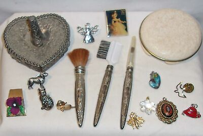 VINTAGE VANITY ITEMS LOT - RING HOLDER, MAKE-UP BRUSHES, AVON COMPACT, JEWELRY +