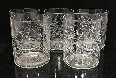 Set Of 5 Teavana Clear Frosted Floral Design 12 Oz Cold Beverage Tumbler Glasses