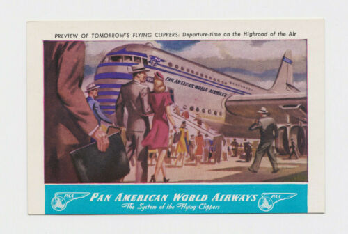Rare Pan Am Preview Postcard - Flying Clipper - PAA Pan American World Airways