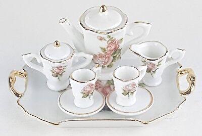 SMALL COLLECTIBLE ROSE PORCELAIN TEA SET TEAPOT SUGAR BOWL CREAMER 2 TEACUPS
