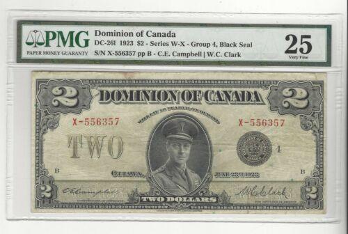 1923 Dominion of Canada DC-26l $2  Black Seal, Gr 4 SN# X-556357 PMG VF-25
