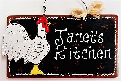 ROOSTER SIGN Personalize NAME KITCHEN DECOR WALL Art HANGER PLAQUE Chicken - Black Rooster Decor