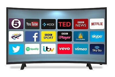 "NEON 40"" CURVED ANDROID SMART LED TV FREEVIEW HD USB 2 x HDMI HD 720p BRAND NEW"
