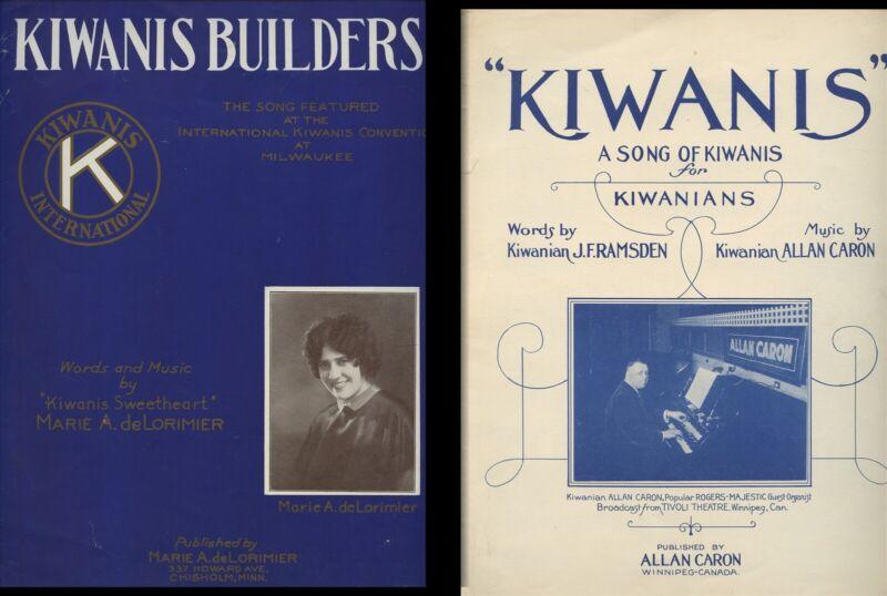 """Two (2) KIWANIS BUILDERS & """"KIWANIS"""" Song of c. 1930"""