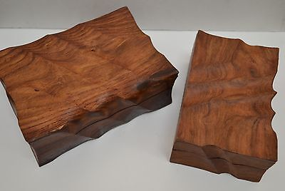 2 PCS HANDMADE ROSEWOOD HAND CARVED CHEST JEWELRY BOX #F-302 - Chest Box