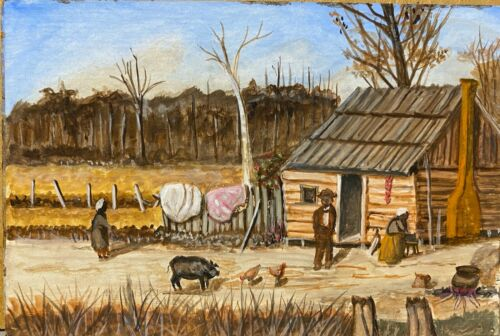 Original Art  Painting, Early Farm Scene, Similar Style to William Aiken Walker