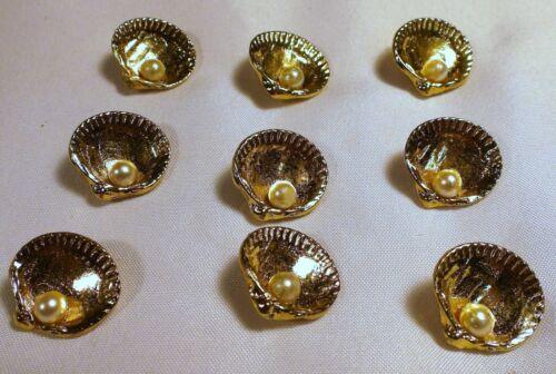 "9 Vtg JHB International BUTTONS Gold Metal Pearl Treasure Shell Italy 3/4"""