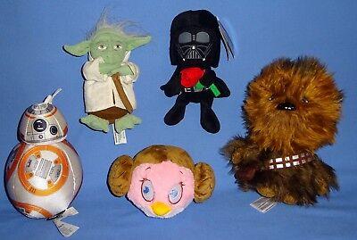 Star Wars Plush Chewbacca Talking Bb 8 Darth Vader Yoda Princess Leia Bird Lot 5