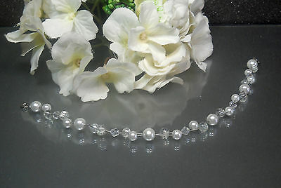 Wunderschöner Perlen Haarschmuck weiß Brautschmuck Diadem  Tiara NEU