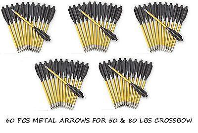 Metal Arrow Bolts For 50   80Lb Pistol Crossbow   60 Pcs High Quality