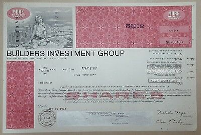 Usa Old Decorated Share Stock Certificate Builders Investment Group 1973