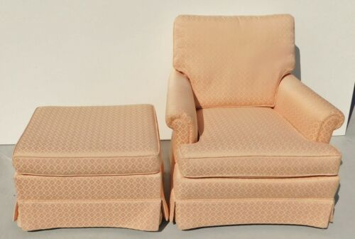 Beautiful Peach Upholstered Accent Lounge Arm Chair with Ottoman Footstool