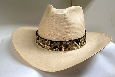 - New Exotic Eastern Diamondback Rattlesnake 1 3/16 inch Wide Hatband with Rattle