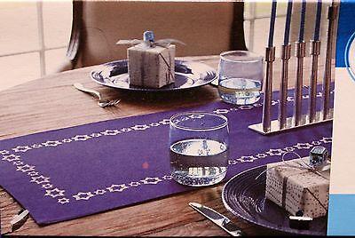 JEWISH TABLE RUNNER 14x48 Blue Star of David Hanukkah Passover Dining Fabric - Hanukkah Table Runner