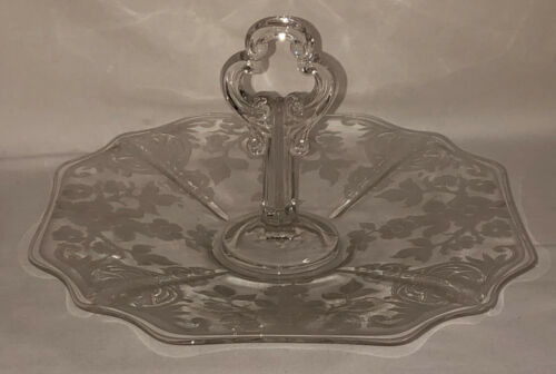 "Cambridge APPLE BLOSSOM CRYSTAL* 10 1/2"" CENTER HANDLE TRAY w/KEYHOLE* #3400/10*"