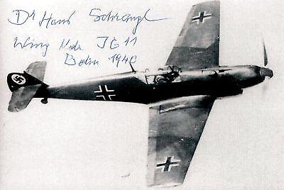 Hans Schrangl signed 6x4 photo / autograph WWII Luftwaffe Pilot JG11 Ace