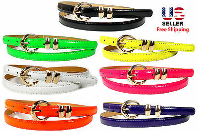 MULTI COLORS LADIES WOMEN FASHION BONDED GLOSSY LEATHER SKINNY BELTS 1/2″ WIDE Belts