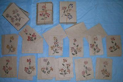 Flower pressed cards with envelopes, rustic design