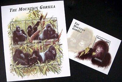 1998 MNH GUYANA MOUNTAIN GORILLA STAMPS SHEETS WILD ANIMALS ENDANGERED WILDLIFE - Endangered Wildlife Animals