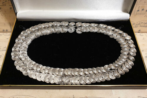 Vintage Chunky 925 Sterling Silver Spiral Link Chain Choker Necklace with Box