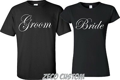 GROOM AND BRIDE T-Shirts Just Married Date On back Wedding Love matching cute
