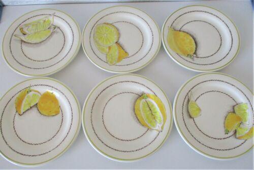 "6 Gien France Citron Lemons Appetizer Canape Bread Plates Leaves 6.5"" NIB HTF"
