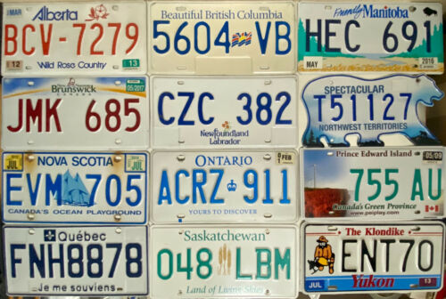 Set CANADA License Plates - 12 Provinces & Territories - Tags Lot - MODERN Set