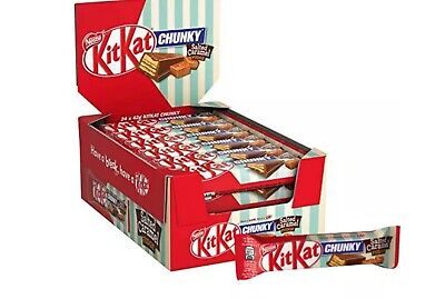 New Nestle KitKat Chunky Salted Caramel Fudge 24 x 42g Chocolate Bars Full Box