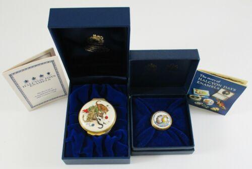 Halcyon Days Cat Enamel Trinket Pill Box Neiman-Marcus Vintage w Box Lot of  2