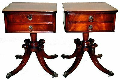Great Pair 1920's Regency Style Flame Mahogany Nightstands with Two Drawers with