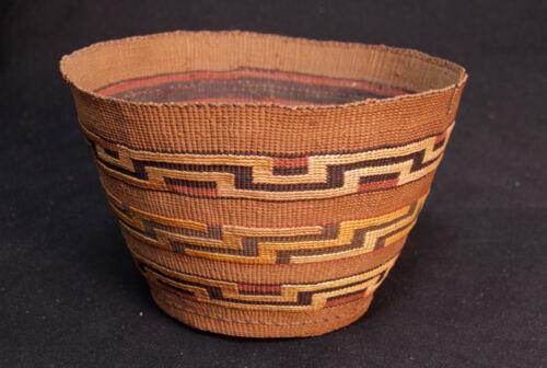 "Large 5.5"" ht x 9.5""d c1880 Alaskan Tlingit Colorful Spruce Root Basket"
