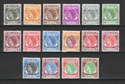 1954-57 MALAYA MALACCA ERII SG23-38 SET F/VF MLH*